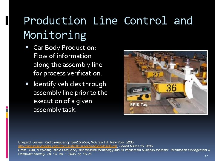 Production Line Control and Monitoring Car Body Production: Flow of information along the assembly