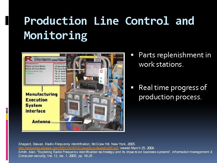 Production Line Control and Monitoring Parts replenishment in work stations. Real time progress of