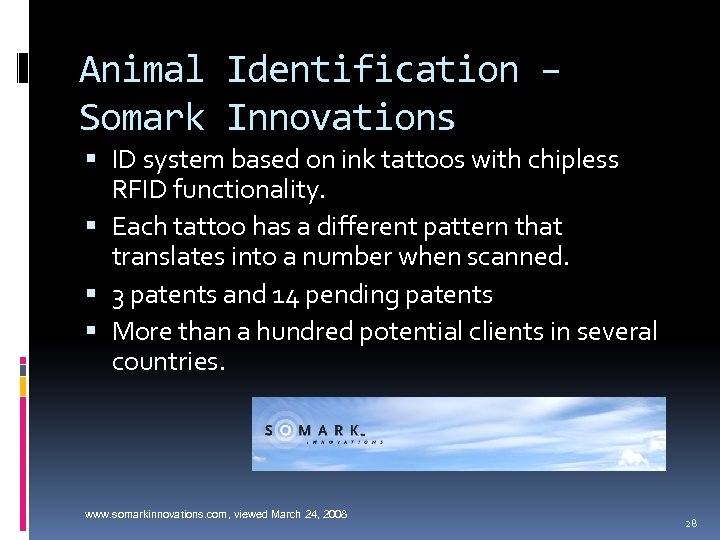 Animal Identification – Somark Innovations ID system based on ink tattoos with chipless RFID