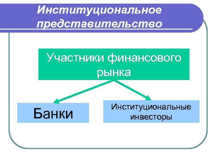 Институциональное представительство Участники финансового рынка Банки Институциональные инвесторы