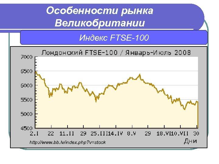 Особенности рынка Великобритании Индекс FTSE-100 http: //www. bb. lv/index. php? v=stock
