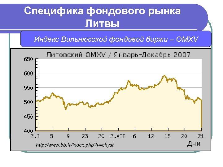 Специфика фондового рынка Литвы Индекс Вильнюсской фондовой биржи – OMXV http: //www. bb. lv/index.