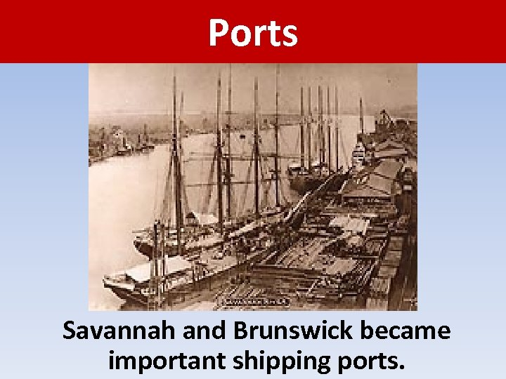 Ports Savannah and Brunswick became important shipping ports.