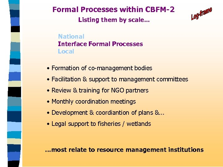 Formal Processes within CBFM-2 Listing them by scale. . . National Interface Formal Processes