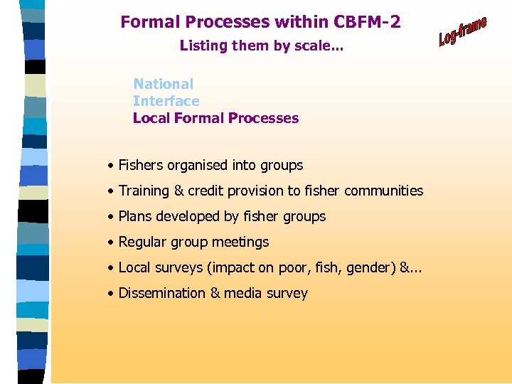 Formal Processes within CBFM-2 Listing them by scale. . . National Interface Local Formal
