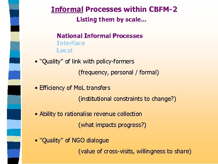 Informal Processes within CBFM-2 Listing them by scale. . . National Informal Processes Interface