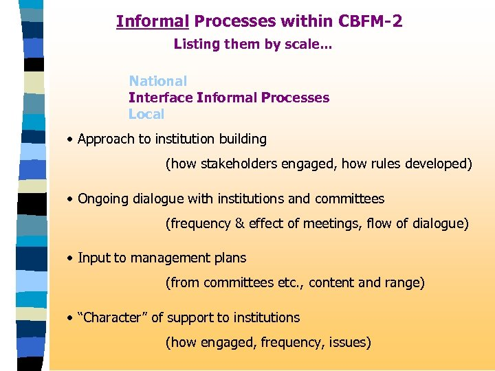 Informal Processes within CBFM-2 Listing them by scale. . . National Interface Informal Processes