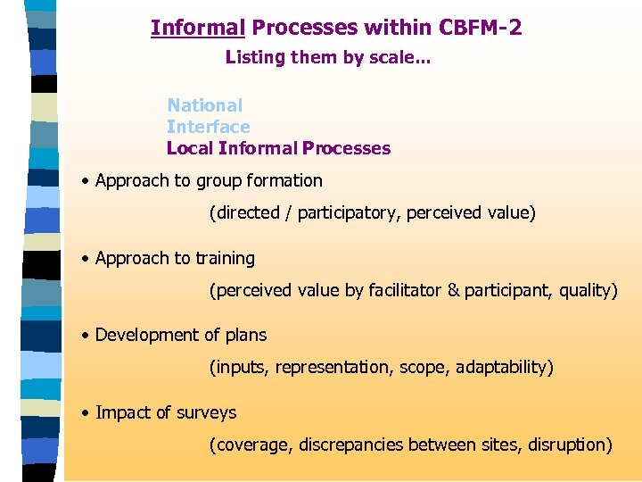 Informal Processes within CBFM-2 Listing them by scale. . . National Interface Local Informal