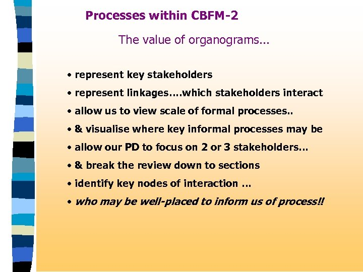 Processes within CBFM-2 The value of organograms. . . • represent key stakeholders •