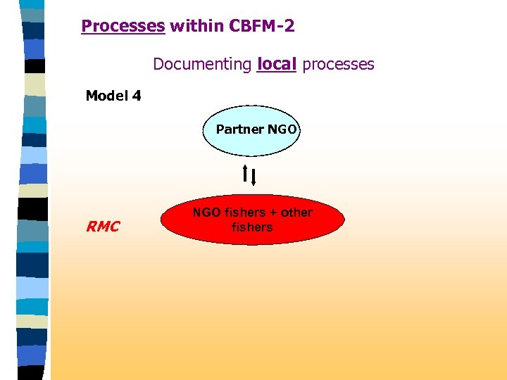 Processes within CBFM-2 Documenting local processes Model 4 Partner NGO RMC NGO fishers +