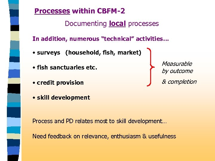 "Processes within CBFM-2 Documenting local processes In addition, numerous ""technical"" activities… • surveys (household,"