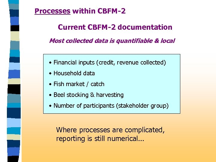 Processes within CBFM-2 Current CBFM-2 documentation Most collected data is quantifiable & local •