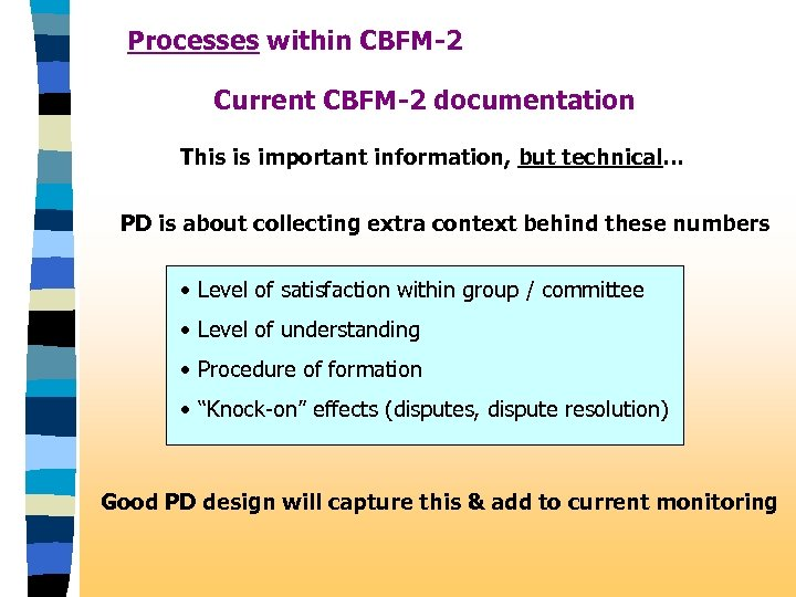 Processes within CBFM-2 Current CBFM-2 documentation This is important information, but technical. . .