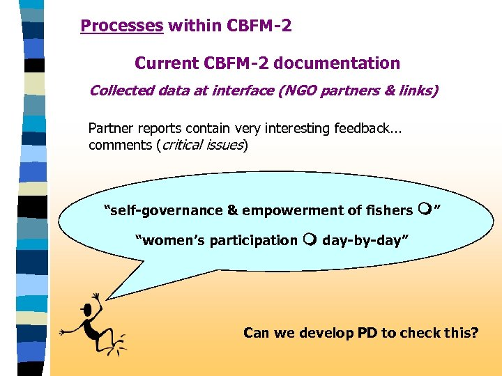 Processes within CBFM-2 Current CBFM-2 documentation Collected data at interface (NGO partners & links)