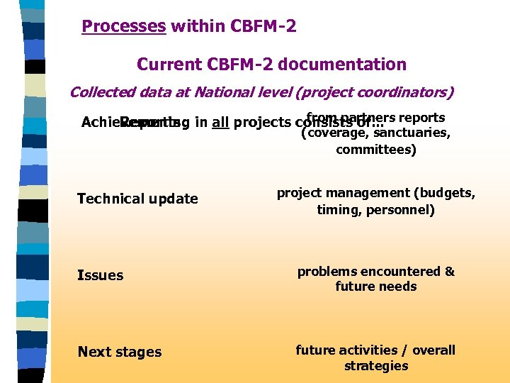 Processes within CBFM-2 Current CBFM-2 documentation Collected data at National level (project coordinators) from