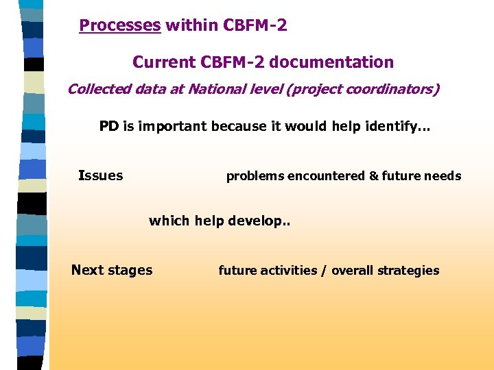 Processes within CBFM-2 Current CBFM-2 documentation Collected data at National level (project coordinators) PD