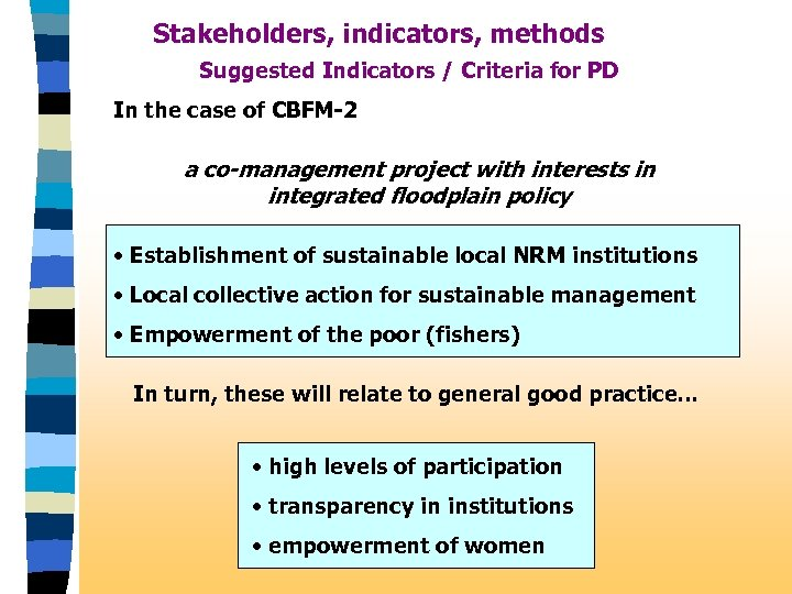 Stakeholders, indicators, methods Suggested Indicators / Criteria for PD In the case of CBFM-2