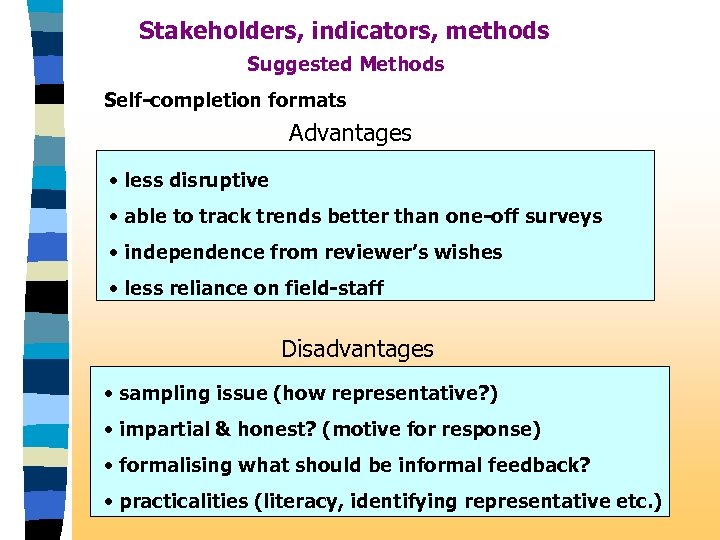 Stakeholders, indicators, methods Suggested Methods Self-completion formats Advantages • less disruptive • able to