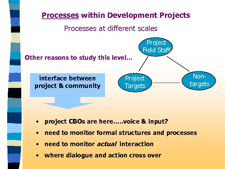 Processes within Development Projects Processes at different scales Other reasons to study this level.