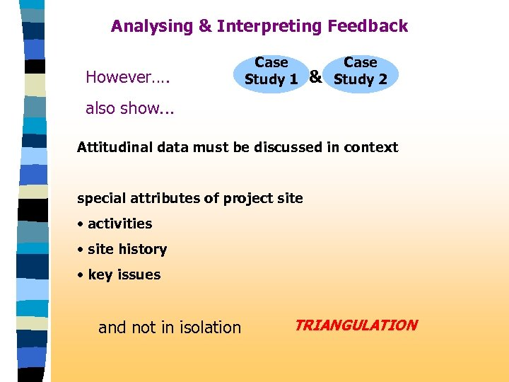 Analysing & Interpreting Feedback However…. Case Study 1 & Case Study 2 also show.