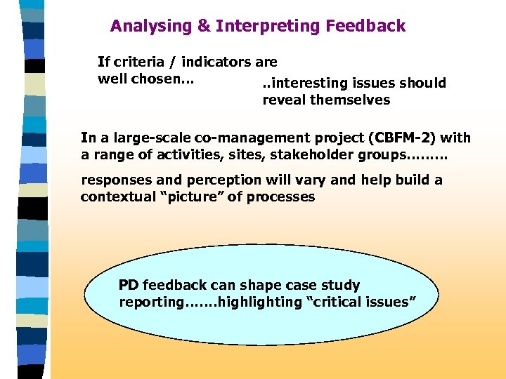 Analysing & Interpreting Feedback If criteria / indicators are well chosen…. . interesting issues