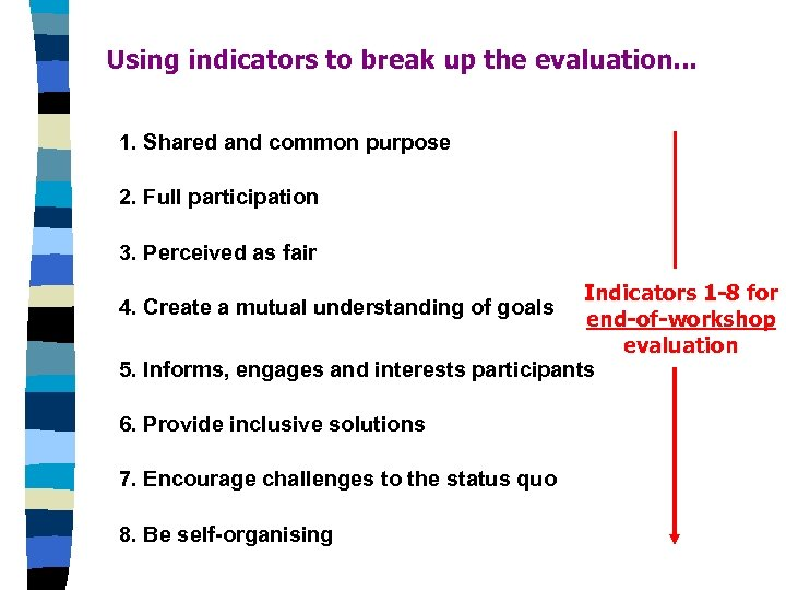 Using indicators to break up the evaluation. . . 1. Shared and common purpose