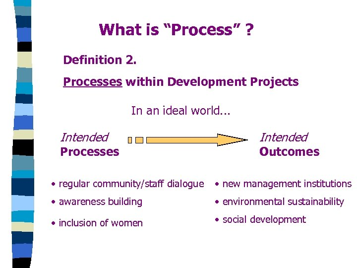 "What is ""Process"" ? Definition 2. Processes within Development Projects In an ideal world."