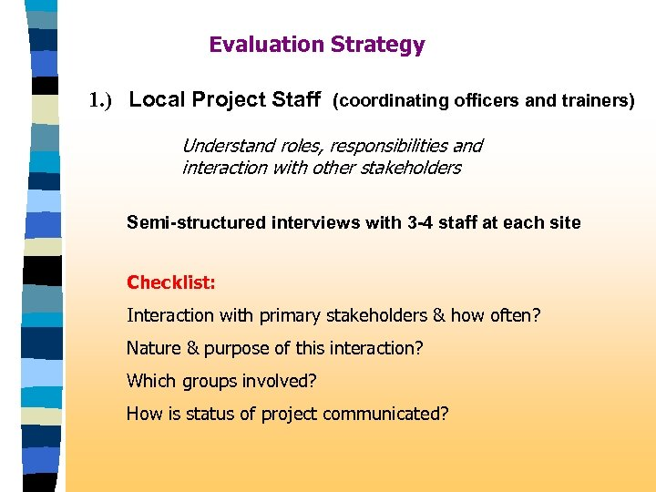 Evaluation Strategy 1. ) Local Project Staff (coordinating officers and trainers) Understand roles, responsibilities