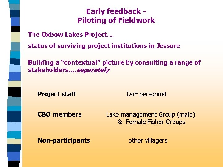 Early feedback Piloting of Fieldwork The Oxbow Lakes Project. . . status of surviving