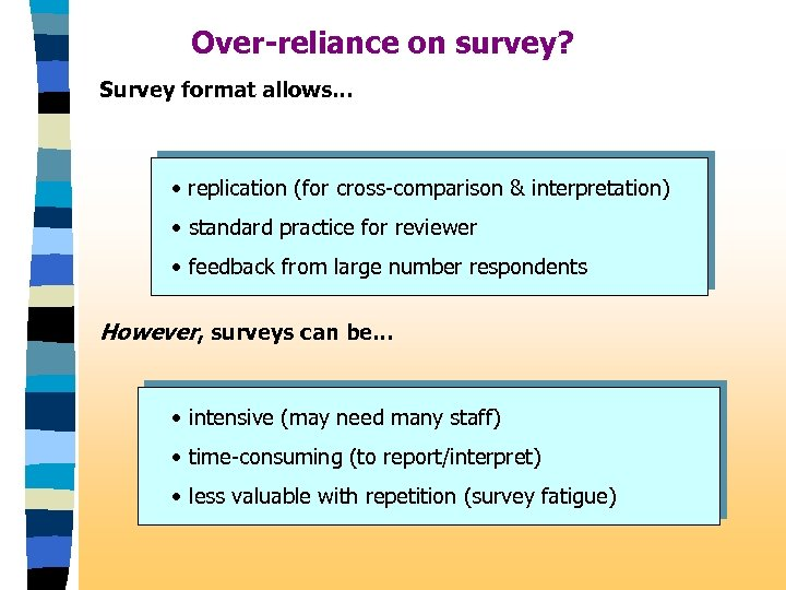 Over-reliance on survey? Survey format allows. . . • replication (for cross-comparison & interpretation)