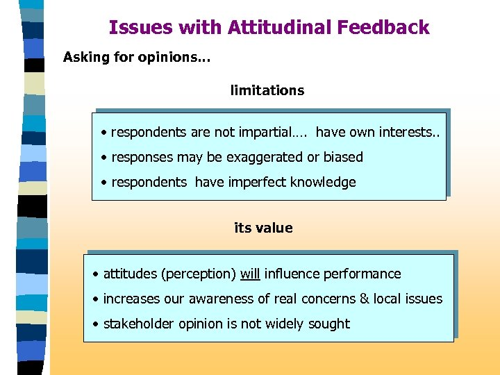 Issues with Attitudinal Feedback Asking for opinions. . . limitations • respondents are not