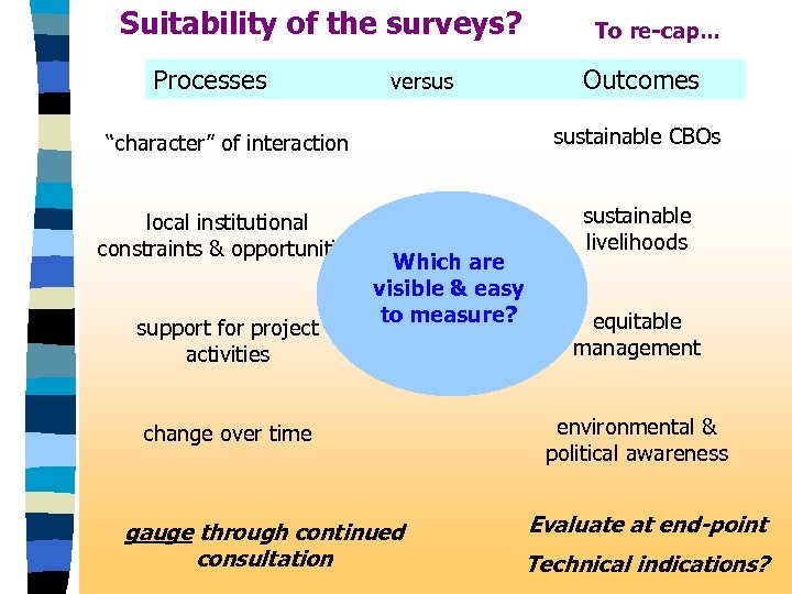"Suitability of the surveys? Processes versus To re-cap. . . Outcomes ""character"" of interaction"