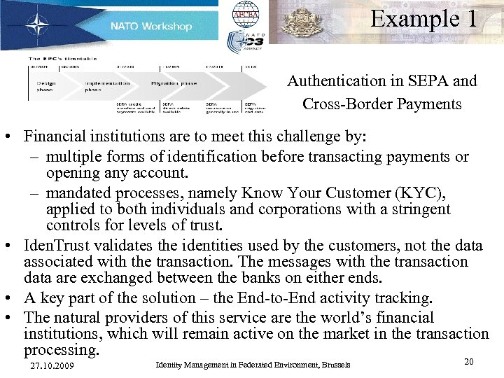 Example 1 Authentication in SEPA and Cross-Border Payments • Financial institutions are to meet
