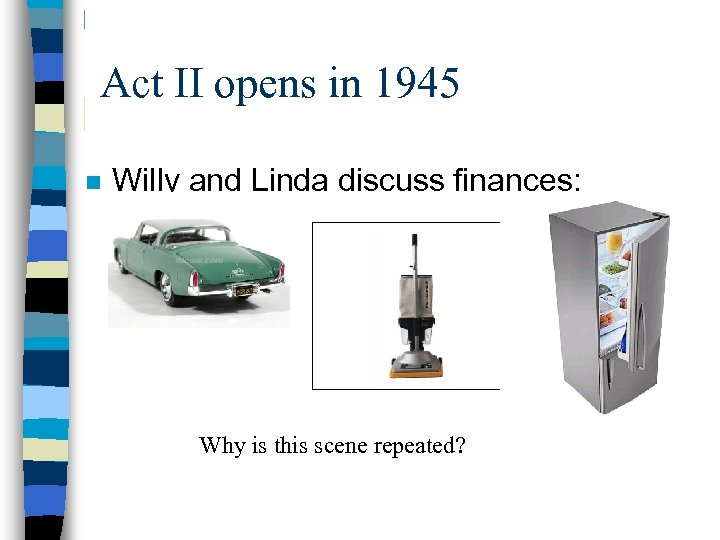 Act II opens in 1945 n Willy and Linda discuss finances: Why is this