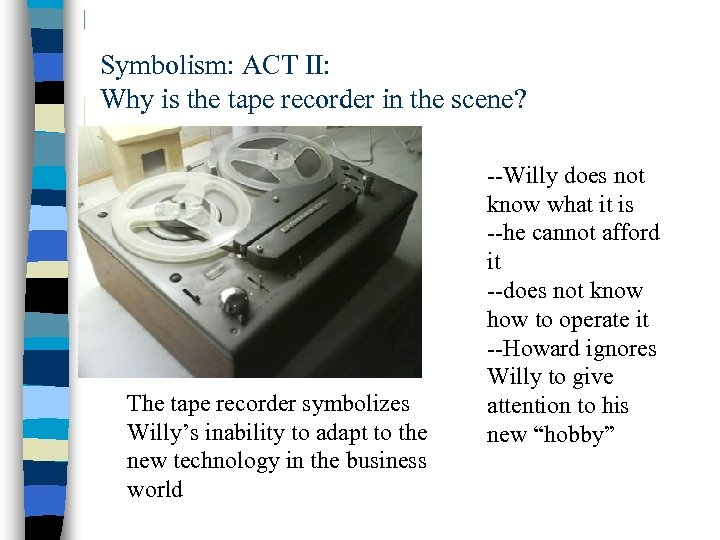 Symbolism: ACT II: Why is the tape recorder in the scene? The tape recorder