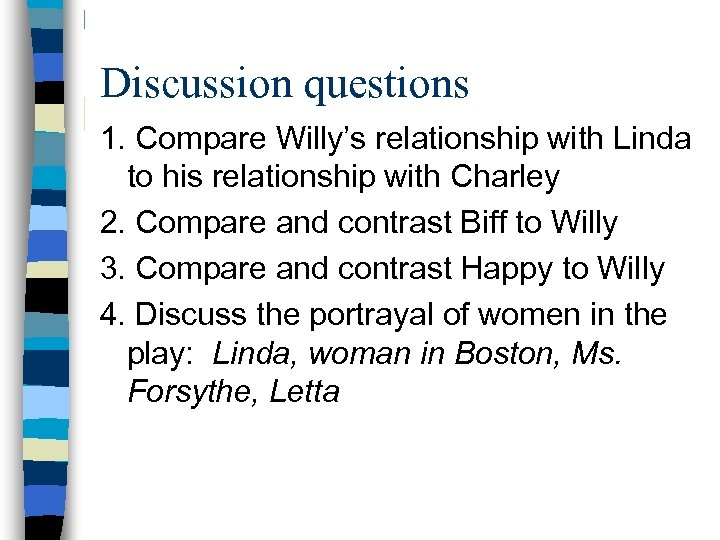 Discussion questions 1. Compare Willy's relationship with Linda to his relationship with Charley 2.