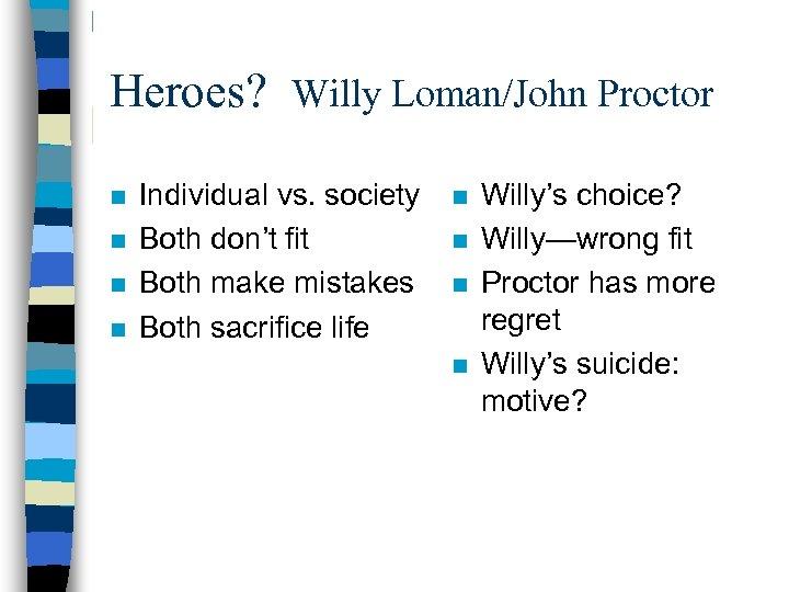 Heroes? Willy Loman/John Proctor n n Individual vs. society Both don't fit Both make