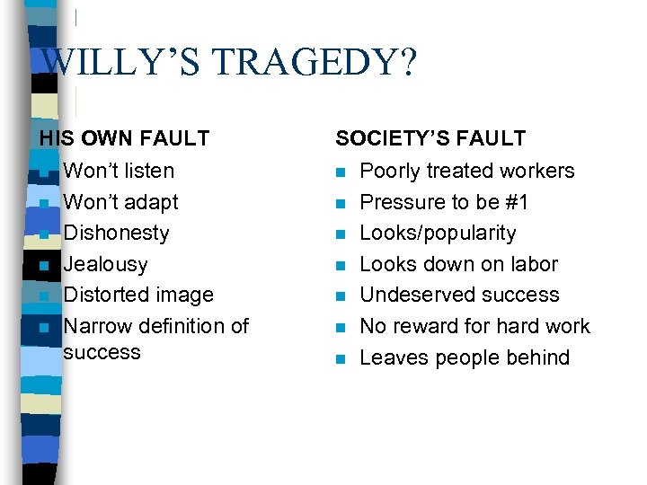 WILLY'S TRAGEDY? HIS OWN FAULT n n n Won't listen Won't adapt Dishonesty Jealousy
