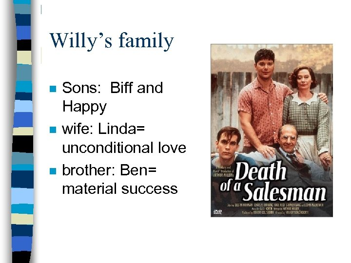 Willy's family n n n Sons: Biff and Happy wife: Linda= unconditional love brother: