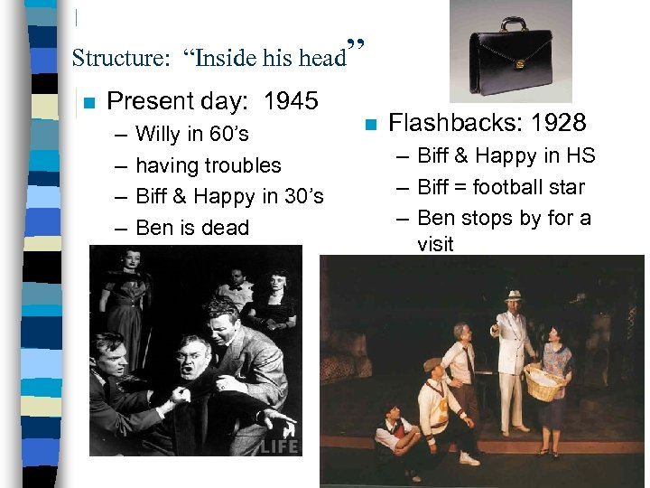 """Structure: """"Inside his head"""" n Present day: 1945 – – Willy in 60's having"""