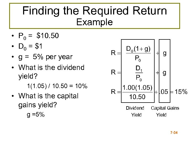 Finding the Required Return Example • • P 0 = $10. 50 D 0