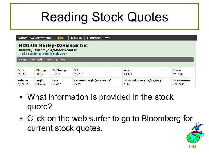 Reading Stock Quotes • What information is provided in the stock quote? • Click