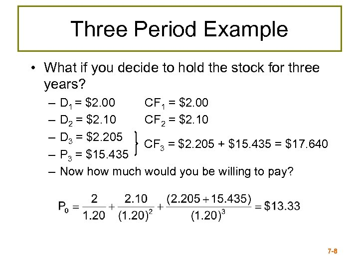 Three Period Example • What if you decide to hold the stock for three