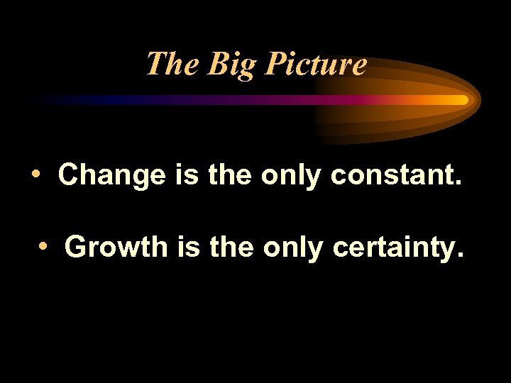 The Big Picture • Change is the only constant. • Growth is the only