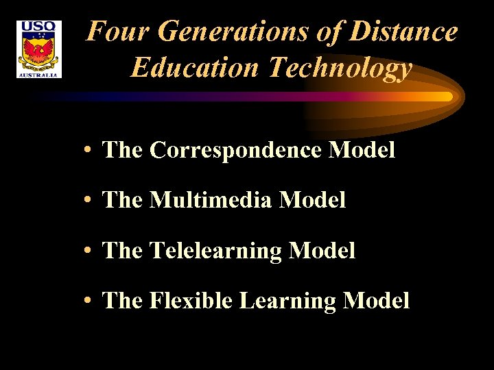 Four Generations of Distance Education Technology • The Correspondence Model • The Multimedia Model