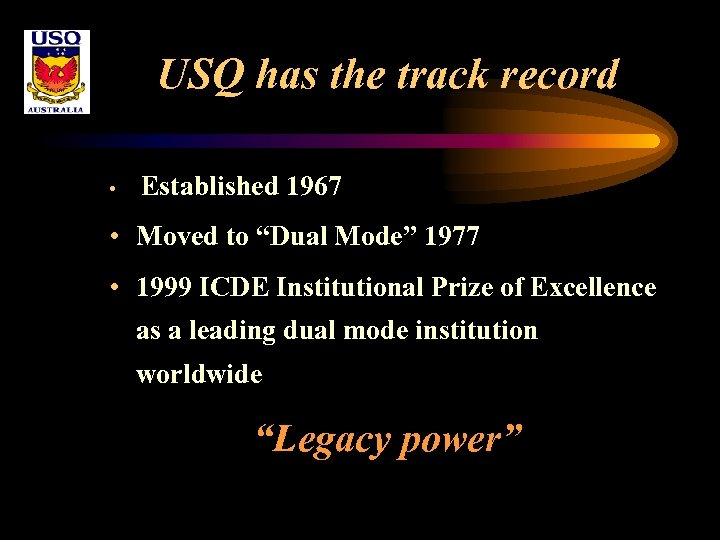 "USQ has the track record • Established 1967 • Moved to ""Dual Mode"" 1977"