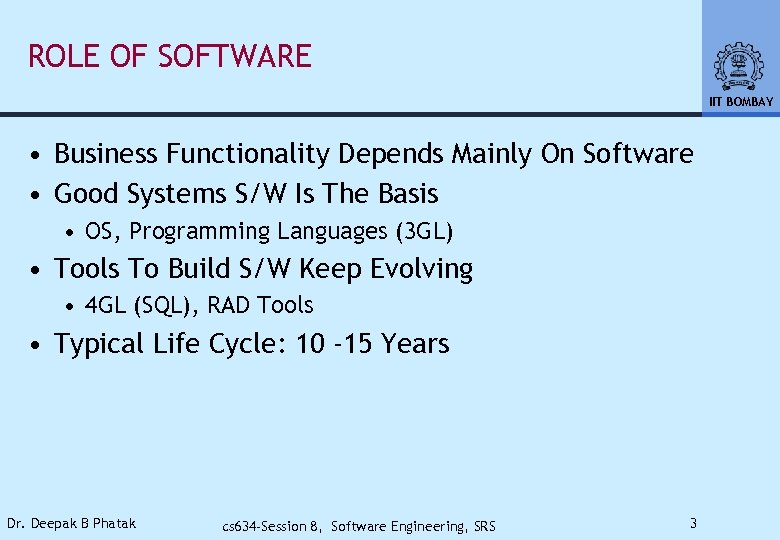 ROLE OF SOFTWARE IIT BOMBAY • Business Functionality Depends Mainly On Software • Good