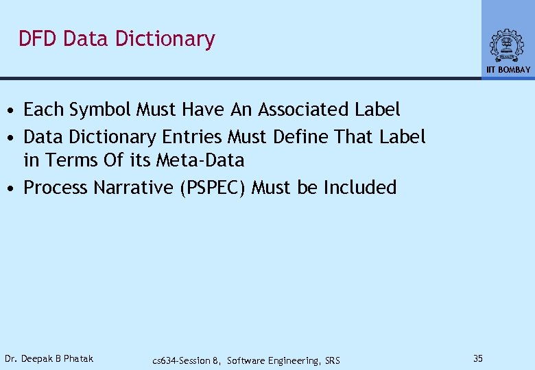 DFD Data Dictionary IIT BOMBAY • Each Symbol Must Have An Associated Label •