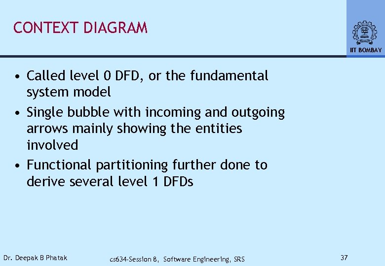 CONTEXT DIAGRAM IIT BOMBAY • Called level 0 DFD, or the fundamental system model
