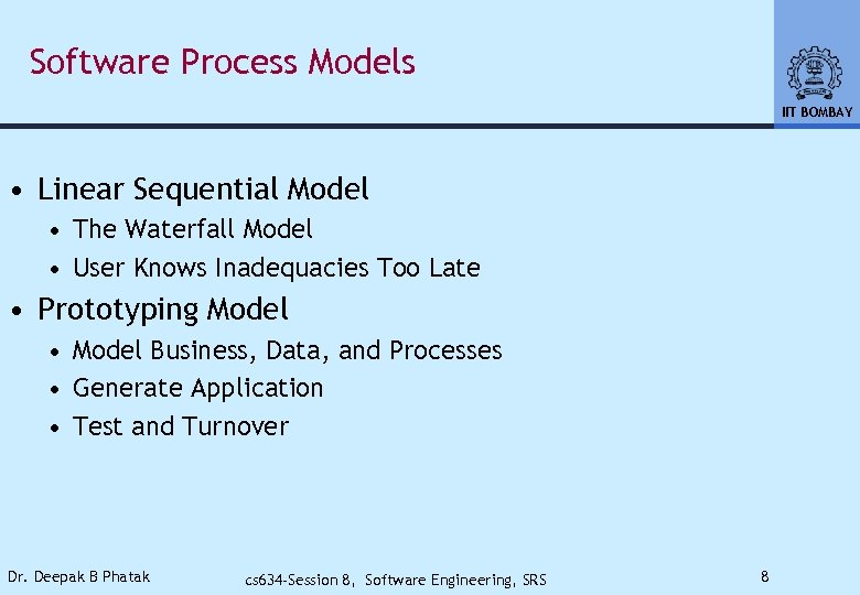 Software Process Models IIT BOMBAY • Linear Sequential Model • The Waterfall Model •